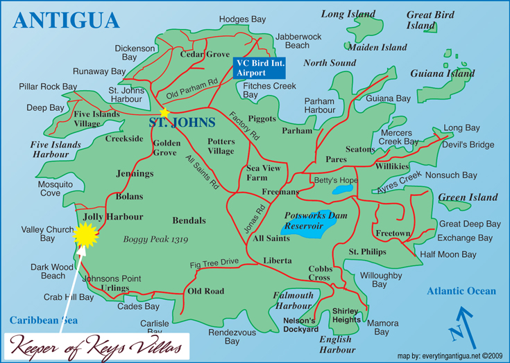 Antigua Map showing location for Keeper of Keys Villas on united states virgin islands, map of st. lucia, map of panama, saint kitts, antigua and barbuda, map of caribbean, saint lucia, map of tortola, map of guatemala, map of st maarten, map of aruba, map of barbuda, map of trinidad, map of jamaica, map of anguilla, turks and caicos islands, map of virgin islands, caribbean sea, map of guadeloupe, map of isla de roatan, map of west indies, map of barbados, saint thomas, map of dominica, map of st kitts, map of belize, british virgin islands,